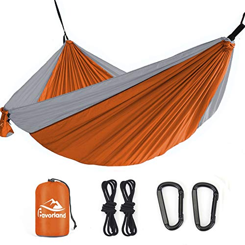 Favorland Camping Hammock Double & Single with Tree Straps for Hiking, Backpacking, Beach, Yard - 2 Persons Outdoor Indoor Lightweight & Portable with Straps & Steel Carabiners Nylon(Orange-Grey)