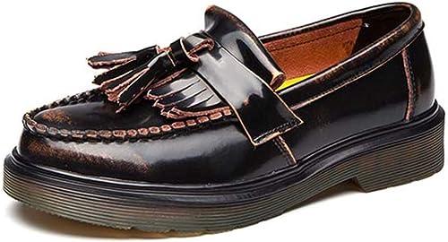 ZHRUI zapatos Planos de mujer Oxford de Cuero para mujeres (Color   marrón, tamaño   6.5=40 EU)