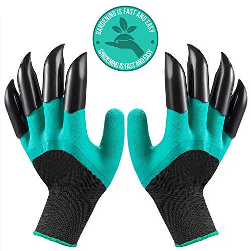 Garden Gloves with Claw Universal Size 8 Abs Plastic Claws On Left and Right Hands Green Genie Garden Gloves Quick & Easy to Dig Without Tools - Garden Claw Gloves Women Claw Gloves Gardening for All