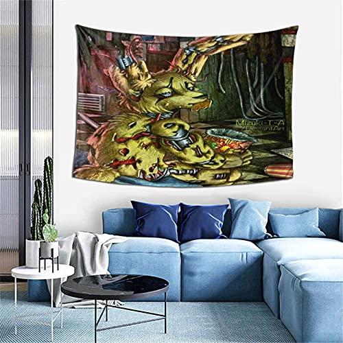 Springtrap Fnaf Fanart - Tapiz para colgar en la pared, tela de poliéster, diseño de olas del océano, decoración del hogar, para dormitorio, sala de estar, decoración de fiesta Trippy manta grande