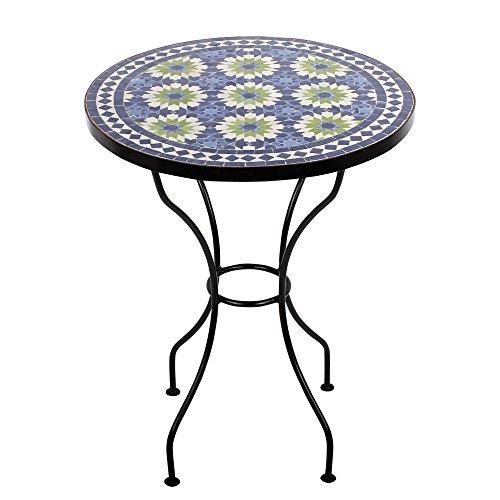 albena Marokko Galerie 15-180 Iras Marokkanischer Mosaiktisch 60cm rund (Iras blau/beige)