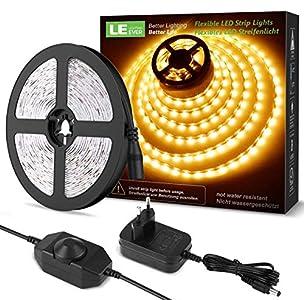 LE LED Luces de Tiras Regulables, 5M 1200lm, Blanco Cálido 3000K, 300 LEDs, Enchufe en la tira de luz para gabinete, armario y más, Incluido Fuente de alimentación de 12V y regulador de intensidad