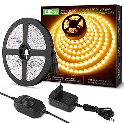 LE Striscia LED 5M 300LED SMD2835 Dimmerabile, LED Strisce 15W 1200lm Bianco Caldo 3000K, Luce Nastro Luminoso per Decorazione Interna, Kit Completo 2 Connettori e Alimentatore e Interruttore Dimmer