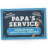 Papa's Service - Kunststoff Schild (blau), Türschild Papas Werkstatt, Geschenkidee...