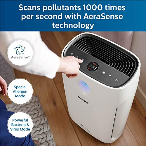 Philips High Efficiency Air Purifier AC2887, with Vitashield Intelligent Purification, removes 99.97% airborne pollutants with numerical PM2.5 display, ideal for master bedroom