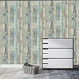 Hode Papel Adhesivo para Muebles Madera Azul Desprendible Papel Pintado Adhesivo...