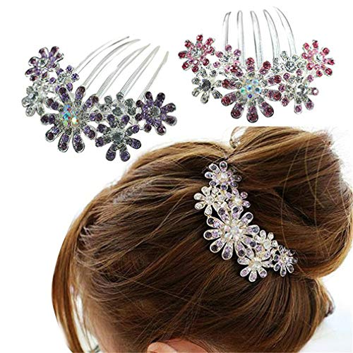 HENGSONG Mariage Femme Clip Pince Strass Barrette epingle a Cheveux Bijoux Perle Nacre