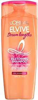 L'Oreal Paris Elvive Dream Lengths Restoring Shampoo with Fine Castor Oil and Vitamins B3 and B5 for Long & Damaged Hair, Sweet Candy, 12.6 Fl Oz