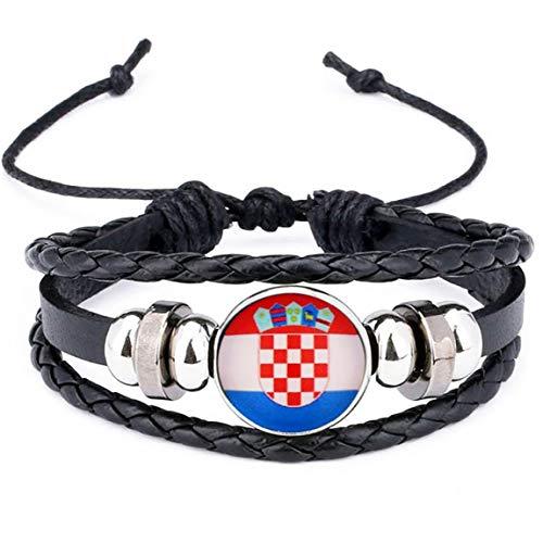 2018 Croatie Bracelet National Charm Drapeau Bangles Cuir Tressées Football Drapeaux Wristband Équipe Bracelet Band Main