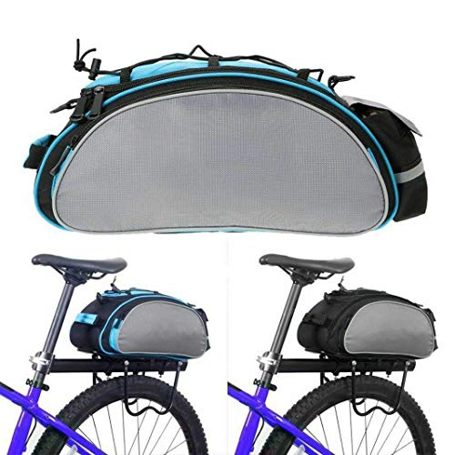 SOTTYH Bicycle Seat Rear Bag Waterproof Bike Storage Pannier Rack Pack Shoulder Cycling Bag Seat Carrier (Blue Grey)