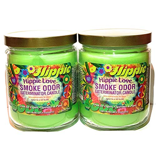 Smoke Odor Exterminator 13 oz Jar Candles Hippie Love, (2) Set of Two Candles.