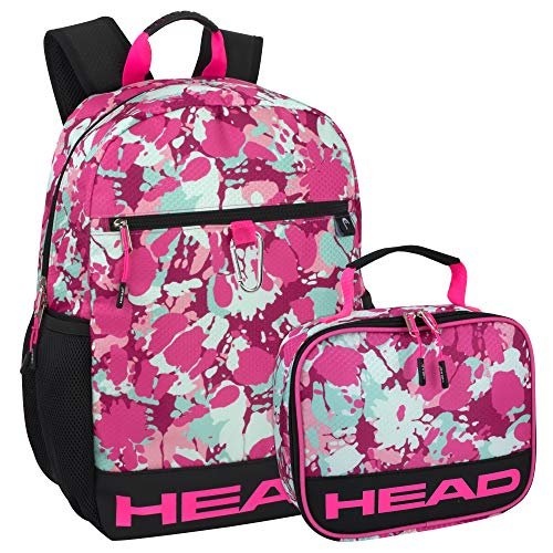 Mochila deportiva con fiambrera para niños y niñas – Mochila azul y rosa y bolsa de almuerzo para niños, Conjunto para niñas., Large