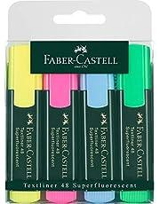 Faber-Castell 154804 - Textliner 48 İşaretleme Kalemi, 1 - 5 Mm, 4'Lü Kutu, İçerik: Her Biri 1 X Sarı, Pembe, Mavi, Yeşil