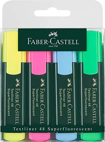 Faber-Castell 154804 Textmarker TEXTLINER 48, Confezione da 4 colori: giallo, rosa, azzurro e verde