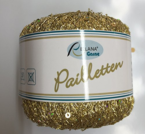 Rellana Pailletten Beilaufgarn, 25 Gramm = 325 Meter, (202 gold)