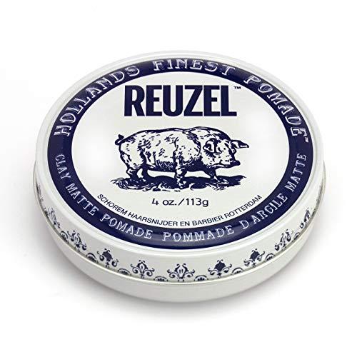 Reuzel - Clay Matte Pomade - Griffiger, mittlerer Halt - kein Glanz - wasserlöslich - voluminöse Textur und Höhe - schweißfest - leicht - formbar - dezenter Vanille-Minz-Duft - 4 oz/113 g