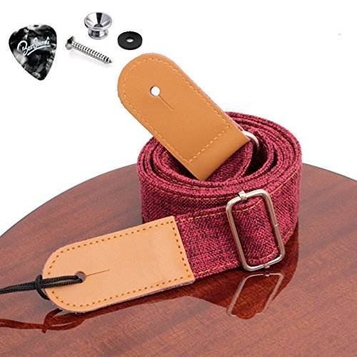 Rinastore Ukulele Strap Country Style Soft Cotton Linen & Genuine Leather Shoulder Strap for Ukulele Banjo Mandolin (Red-US-12)