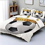 Juego de funda nórdica, corona de pelota inspirada en el campeonato de fútbol soccer con adornos de imagen impresa Juego de cama decorativo de 3 piezas con 2 fundas de almohada, negro, blanco y dorado