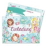 Papierdrachen 12 Einladungskarten zum Kindergeburtstag für Mädchen - Motiv Meerjungfrau - Geburtstagseinladungen für Deine Geburtstagsparty (DIN A6 mit abgerundeten Ecken)