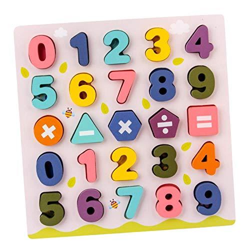 sharprepublic Alfabeto de Madera Rompecabezas números Juego de Bloques de Mesa, Coloridas Letras/números en mayúsculas ABC para niños pequeños Juguetes educativos - Número