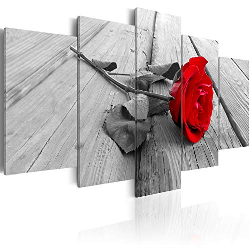 decomonkey Bilder Blumen Rose 200x100 cm XXL 5 Teilig Leinwandbilder Bild auf Leinwand Wandbild Kunstdruck Wanddeko Wand Wohnzimmer Wanddekoration Deko Natur rot grau