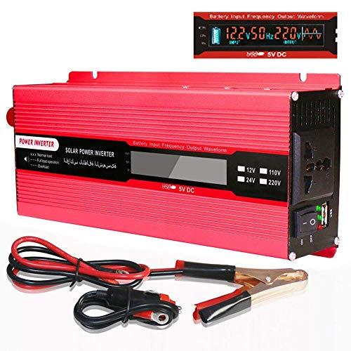 ZHCJH Inversor 2000W DC 12V a AC Outlet 110V Outlet Crocodile Clip Inversor Corriente para batería en el automóvil 1 Tomacorrientes CA Pantalla LED y USB Potencia máxima 4000W