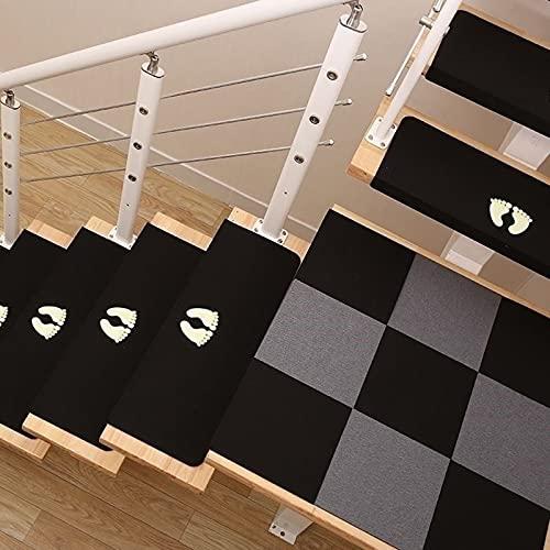 Alfombras Antideslizantes para Escaleras para Niños, Bebés, Ancianos Y Mascotas, Alfombras De Seguridad Autoadhesivas Reutilizables para Escaleras, Patrón Luminoso, 55cm × 21,5cm, Color Negro