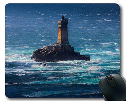 Stitched Edges Mouse Pads,Lighthouse Sea Cliffs Water Away Road Stitched Edges Mouse pad