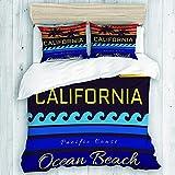 MEJX Bedding Juego de Funda de Edredón,California Beach Tipografía San Francisco Ocean Beach Impresión Diseño Ropa Deportiva Ropa ca Ropa Original,Microfibra SIN Relleno,(Cama 140x200 + Almohada)