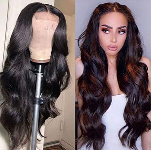 """Maxine 4x4 Lace Front Wigs Body Wave Malaysian 100% Unprocessed Human Hair Lace Closure Wigs For Black Women Pre Plucked Hairline,with Baby Hair 150% Density (24"""", body wave wig)"""