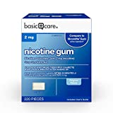 Amazon Basic Care Nicotine Polacrilex Uncoated Gum 2 mg (nicotine), Original Flavor, Stop Smoking Aid; quit smoking with nicotine gum, 220 Count