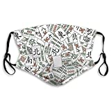 Mahjong Tiles Face M-A-S-K - Pañuelo reutilizable lavable, antipolvo, bandanas para mujeres y hombres con 2 filtros
