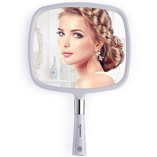 EASEHOLD Mirroir à Main Miroir de Maquillage Carré Mirroir Portable Blanc