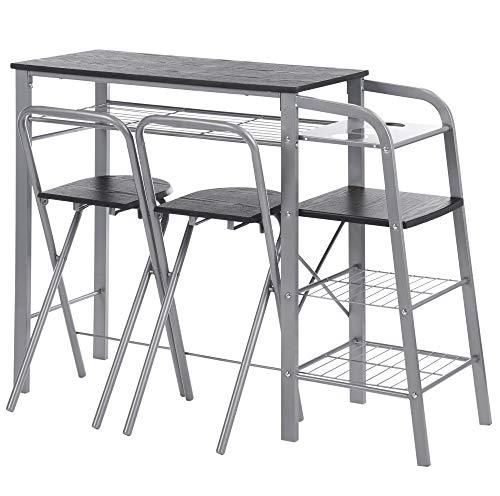 ts-ideen Juego de 3 Piezas para Cocina o Comedor Mesa con 2 Taburetes en Aluminio y MDF Color Negro