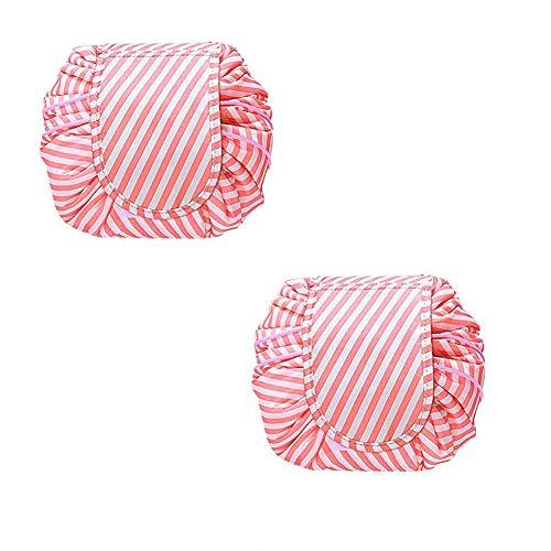 PBTRM Cosmétiques Voyage Portable Maquillage Waterproof Multifonctions Salle Bains Rangement Housses Transport Réductibles Toilette, Cordonnet, 2Pcs,Rose