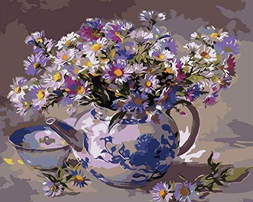 Schilderij op nummer DIY digitaal olieverfschilderij bloem theepot afbeelding tekening op doek 40 x 50 cm