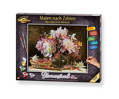Schipper 609130773 Malen nach Zahlen, Blumenstrauß mit Kirschen - Bilder malen für Erwachsene, inklusive Pinsel und Acrylfarben, 40 x 50 cm
