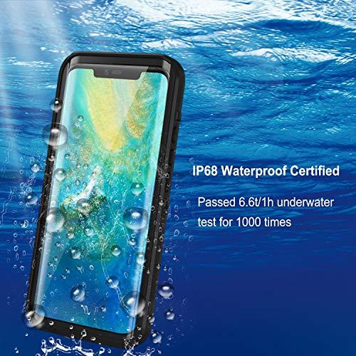 Lanhiem für Huawei Mate 20 Pro Hülle, IP68 Zertifiziert Wasserdicht Handy hülle 360 Grad Schutzhülle, Stoßfest Staubdicht und Schneefest Outdoor Schutz mit Eingebautem Displayschutz - Schwarz - 3
