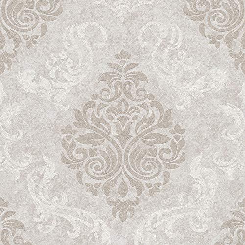 Vliestapete Barock-Tapete Ornament-Tapete 953728 95372-8 Innova Memory 3 | Grau Silber | Muster (21 x 29,7 cm)
