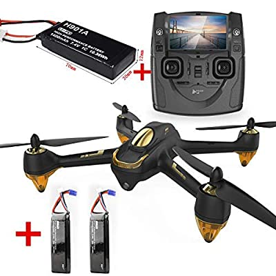 Hubsan H501S Brushless motor Drone 5.8G LCD Screen Real Time with 1080P,Altitude Hold, Headless Mode, One Key Operation,Follow me, 2 Batteries, Black