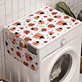 Ambesonne Insects Washing Machine Organizer, Funny Pattern of Wombs Ladybugs and Beetles, Anti-slip Fabric Cover for Washers and Dryers, 47' x 18.5', Burnt Sienna Dark Blue
