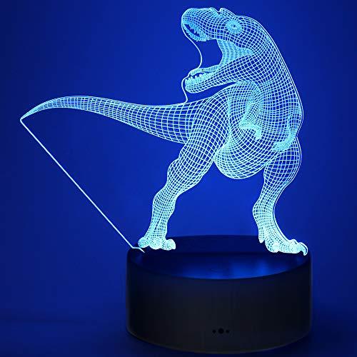 Dinosaurier 3D Nachtlicht Lampe, Trex 3D Lampe Geschenk mit 16 Farbwechsel und Fernbedienung für Jungen ab 3 4 5 6+ Jahre
