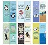 Creanoso Penguin Bookmarks (12-Pack) - Stocking Stuffers Premium Quality Gift Ideas for Children, Teens, Adults - Corporate Giveaways & Party Favors