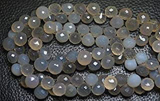 Jewel Beads Natural Beautiful jewellery 8 Inches Strands,Grey Chalcedony Faceted Onion Shape Briolettes 8-7mmCode:- JBB-37318