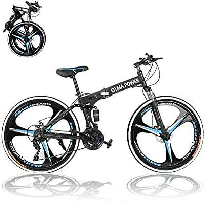 Folding Mountain Bike for Men 26 Inch 21 Speed Shimanos Outdoor Exercise Bicycle Road Bike for Adult Women Dual Disc Brakes Full Suspension Non-Slip MTB Bikes (Black)