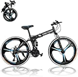 26in Folding Mountain Bike,21-Speed Mountain Bicycles Cruiser Bicycles with Disc Brakes/Full Suspension for Adults, Exercise Fitness Mens Womens Outdoor Bicycle,Non-Slip (01#)