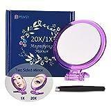 Miroir grossissant 20X, miroir double face, grossissement 20X/1X, miroir de makeup pliable avec support de poche, pour maquillage, pince à poils et points noirs/taches. (Violet)