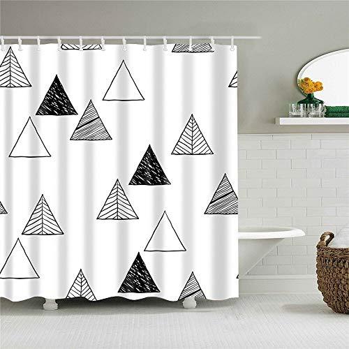 XCBN Cortinas de baño de tela impermeable para decoración del hogar, diseño de rayas geométricas con ganchos A45, 150 x 200 cm