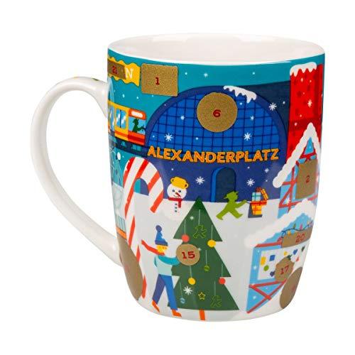AMPELMANN Weihnachtsbote - Kalendertasse - aus Keramik mit Weihnachtsmotiv zum Rubbeln 30cl, spülmaschinengeignet