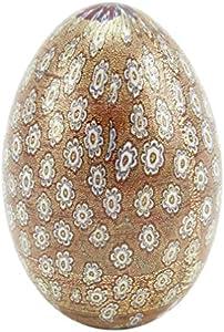 glassofvenice cristal de Murano Millefiori huevo–Golden rojo